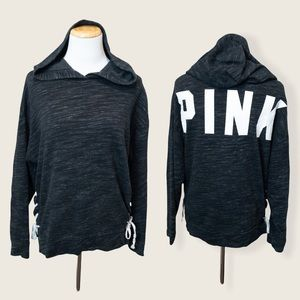 PINK Victoria's Secret Charcoal Grey Lace Up Side Hoodie - Size XSmall
